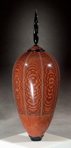 Kim Blatt Woodturning : Vessel Gallery One : Tall Leopard Wood Vessel