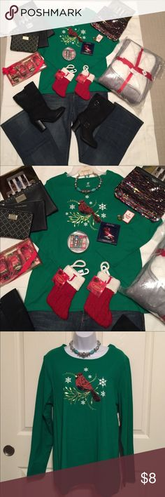 NWT Green Christmas T-shirt with bird design XL NWT Green Christmas long sleeve T-shirt with bird design size XL  Check out my closet, we have a variety of Victoria Secret, Bath and Body Works, handbags 👜 purse 👛 Aerosoles, shoes 👠fashion jewelry, women's clothing, Beauty products, home 🏡 decors & more...  Ships via USPS. Don't forget to bundle, you save big! Always a FREE GIFT 🎁 with every purchase!!! Thank you & Happy Poshing!!! Tops Tees - Long Sleeve