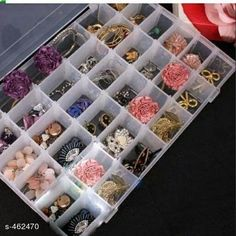 Box Storage 36 Partition Jewellery Box Material: Plastic Size: 28 cm x 19 cm x 4.5 cm Description: It Has 1 Piece Of 36 Partition Jewelry Box Country of Origin: India Sizes Available: Free Size   Catalog Rating: ★4.3 (9285)  Catalog Name: Attractive Home Utilities Vol 2 CatalogID_50472 C131-SC1625 Code: 602-462470-483