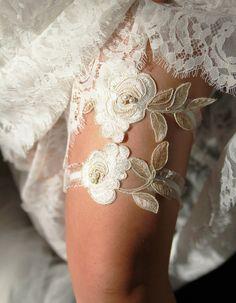 Wedding Garter Bridal Garter Lace Garter Gold Ivory by NAFEstudio