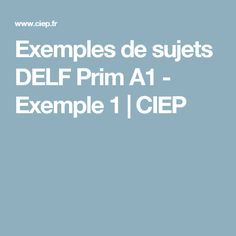 Exemples de sujets DELF Prim A1 - Exemple 1 | CIEP Study