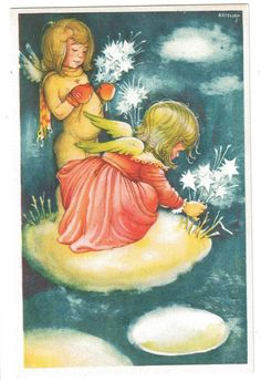 Artelius, Gott Nytt Ar - Artist signed. Angels picking iceflowers. Old postcard