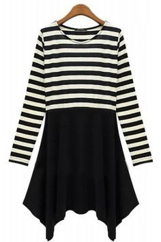 Black White Striped Long Sleeve Dress 0.00