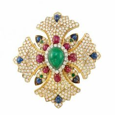 Gold, Platinum, Cabochon Colored Stone and Diamond Maltese Cross Clip-Brooch, David Webb for Sale at Auction on Tue, 10/21/2014 - 07:00  - Important Jewelry | Doyle Auction House
