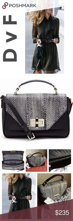 ‼️❣️DVF Crossbody Lamb/Snake Leather Bag NWT It is a classic satchel styling with modern DVF signatures. DVF turnlock and logo hardware, front flap panel of black and white snake. With top handle and leather crossbody strap plus a main interior pocket with five slit pockets, one zip pocket, and a back snap slit pocket. 60% Lamb Leather 40% Snake - brand new - Diane von Furstenberg Bags