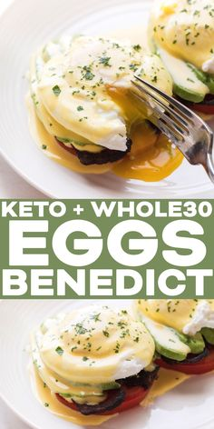 Whole30 + Keto California Eggs Benedict Recipe - a healthy and delicious paleo breakfast! Tomato slices for english muffins. avocado, bacon, poached eggs and a dairy free hollandaise sauce.  Click for a gluten free, grain free, dairy free, sugar free, twist on a breakfast classic.  #whole30 #keto #breakfast #paleobreakfast