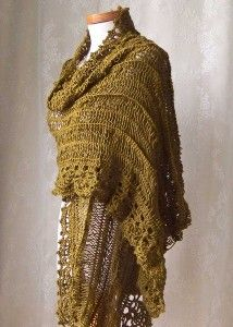 Bronzegreen hairpin lace stole with crochet lace...