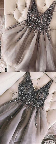 Luxurious Sequins Beaded V-neck Tulle Short Gray Homecoming Dresses – Okdresse. - Luxurious Sequins Beaded V-neck Tulle Short Gray Homecoming Dresses – Okdresses Source by - Grey Evening Dresses, Grey Prom Dress, Hoco Dresses, Tulle Prom Dress, Trendy Dresses, Beaded Dresses, Dress Formal, Short Tulle Dress, Evening Gowns