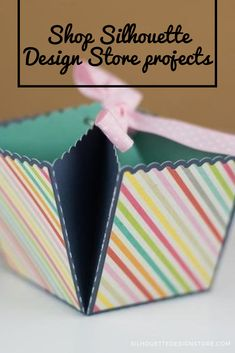 This is such a fun organizer-style box that can hold a variety of things. Use as an organizer for your craft table or could even be used as a a treat gift box! It's super easy to assemble! Silhouette Projects, Silhouette Design, Design Projects, Craft Projects, Style Box, Organiser Box, Super Easy, Card Holder, Treats