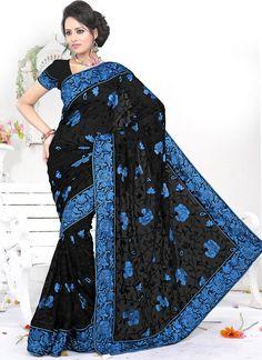 #Black Border Work #Saree Check out this page now :-http://www.ethnicwholesaler.com/sarees-saris