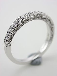 Filigree and Diamond Vintage Style Wedding Ring