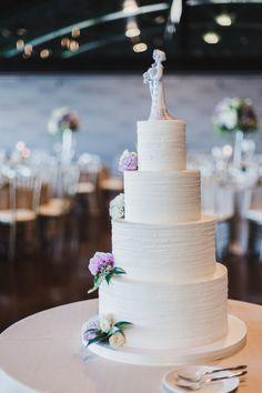Lindsey and Brandon's Joyful Lakeshore Wedding — CHI thee WED White Cakes, White Wedding Cakes, Wedding Desserts, Tiered Cake Stands, Tiered Cakes, Lake Michigan Wedding, Three Tier Cake, Gray Wedding Colors, Cookie Tutorials