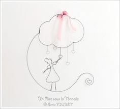 """Décoration murale en fil de fer recuit """"Une pluie d'Amour"""" : Décoration pour enfants par un-rire-sous-la-tonnelle"""
