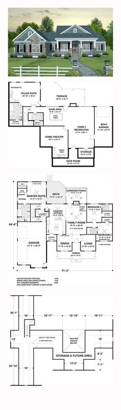 Country Style COOL House Plan ID: Chp 45369 | Total Living Area: 2156