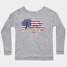 2da42ec9032 American Flag Rhino USA Conservation TShirt - Rhino Lover - Long Sleeve T- Shirt