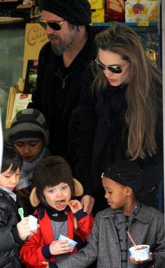 Angelina Jolie and Brad Pitt with Zahara, Shiloh, Pax and Maddox trying some ice cream.