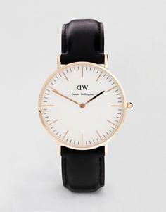 Daniel Wellington | Черные классические большие часы с отделкой из розового золота Daniel Wellington Sheffield