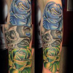 A #tattoo I just finished. #rose #rosetattoo #skull #skulltattoo #eternal #eternalink #expandyourmind #exploitedtattoo #artofjaynoska #mikepike #midwesttattooer #armtattoo #colorbomb #colortattoo #truegrey