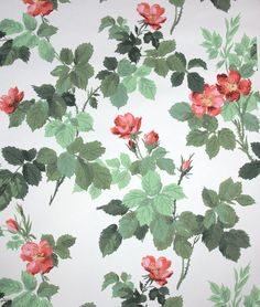 Vintage Wallpaper wild red rosebuds and by HannahsTreasures Wallpaper Crafts, Old Wallpaper, Pattern Wallpaper, Wallpaper Designs, Floral Patterns, Floral Prints, Doll House Crafts, Romantic Flowers, Paper Background