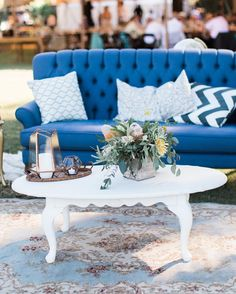 The sun is out & I'm dreaming of summer weddings! Our Sarina Blue Linen Sofa was chosen as part of our Luxe Lounge Package at this lake wedding  it paired perfectly with gorgeous florals from @mollyryanfloral  always remember to add florals for your lounge bar dessert table & welcome tables  florals really do make everything better!! Let us create the perfect lounge for your wedding day  we have plenty of styles & options to choose from  we can't wait to bring your story to life…