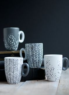 Painted mugs. How to turn cheap and ugly into chic, using just some paint and your oven.