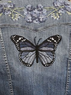 Floral Butterfly Embroidered Denim Jacket,Good a few ideas for beautiful embroidery By embroidering lovely styles, small results or beautiful borders, DIY fashion manufacturers can design thei. Butterfly Embroidery, Cute Embroidery, Shirt Embroidery, Hand Embroidery Patterns, Embroidery Designs, Embroidered Butterflies, Embroidery Fashion, Denim Jacket Embroidery, Embroidered Denim Jacket