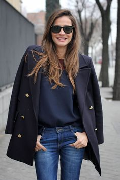 short navy coat