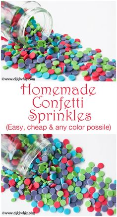 How to make HOMEMADE CONFETTI SPRINKLES. Cheap and super easy to make in any color you like! From cakewhiz.com