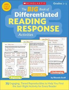 The BIG Book of Differentiated Reading Response Activities: 75 Engaging, Tiered Reproducibles to Help You Find the Just-Right Activity for Every Reader (PagePerfect NOOK Book) Reading Response Journals, Reading Response Activities, Reading Intervention, Reading Groups, Reading Resources, Reading Strategies, Teaching Reading, Reading Comprehension, Guided Reading