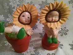 Vintage Handmade Sunflower Babies, Vintage Homemade Decor, Sunflower Babies, Sunflower, Baby Nursery, Home Decor, Nursery Decor, Handpainted by Vintagepetalpushers on Etsy