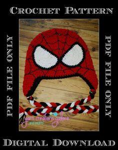 Crochet Spiderman Hat PatternPDF ONLY by YarnCreationsGalore
