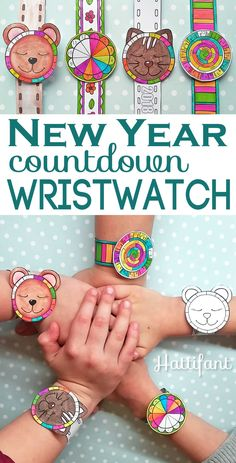 The cutest New Year Countdown Papercraft EVER! Download Hattifant's New Year Countdown Wristwatch Printables and get your kids busy crafting!