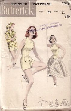 Butterick 7758 | Collar 34 50s Playsuit Buttons Sleeveless Skirt Flare Vintage Retro Pattern, Vintage Sewing Patterns, 20th Century Fashion, Pattern Books, Boy Shorts, Playsuit, Print Patterns, My Style, Prints