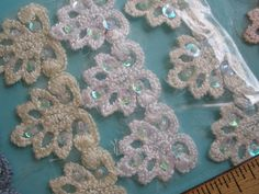 """Sequin Beaded Venise Lace trim 1"""" wide 8 colors crochet braided edging Embellishment yards yardage applique embroidered by kabooco on Etsy"""