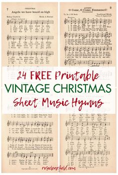30 FREE printable vintage hymns sheet music pages! Perfect for numerous DIY craft projects, one-of-a-kind wall art home decor, and sheet music books. Free Christmas Music, Classic Christmas Carols, Christmas Sheet Music, Merry Christmas, Vintage Christmas, Christmas Diy, Xmas Music, Christmas Lyrics, Snoopy Christmas