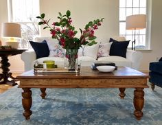 Handmade coffee table made with reclaimed wood with hand turned legs - beautiful finish!