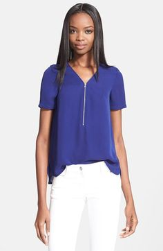 The+Kooples+Front+Zip+Silk+Georgette+Blouse+available+at+#Nordstrom