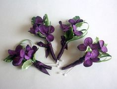 Purple Hydranga Boutonniere | Eggplant purple hydrangea silk flower boutonnieres.