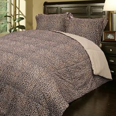 Super Soft Leopard Print Microfiber Down Alternative Comforter and Sham Set