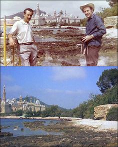 Emilio Ruiz Del Rio and Ray Harryhausen in front of the matte painting for The Golden Voyage Of Sinbad (1974)