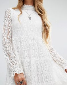high neck smock dress in lace