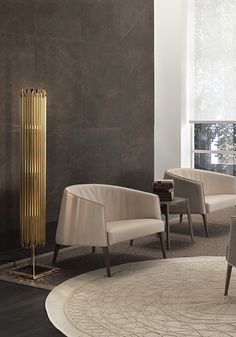 Matheny Stilnovo Geometric Floor Lamp made with Golden Tubes by DelightFULL Unique Lamps
