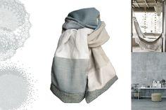 écharpe homme femme gris beige tweed velours modèle unique : Echarpe, foulard, cravate par lefil