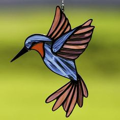 stained glass blue and purple hummingbird suncatcher, stain glass hummingbird ornament on Etsy