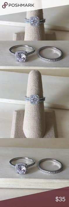 Sterling Silver Halo Wedding Ring Set Condition: New Metal: Stamped .925 Sterling Silver Stone: Cubic Zirconia   Will come in a gift box.  Reasonable offers accepted! Please ask any questions you have ☺️  -Sterling Silver Ring Women's Jewelry Rings New Promise Ring Engagement Gift Anniversary- Jewelry Rings #engagementrings