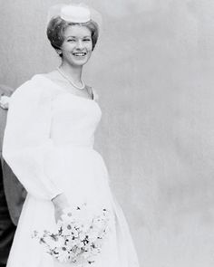 Martha Stewart, 19, posing for her wedding portrait in 1961 when she married Andrew Stewart. They had one child, Alexis, born in 1965, and divorced in 1987. She wore a pillbox hat and carried a bouquet of fresh flowers, and the hand-sewn gown made her late to the ceremony because she was adding finishing touches to it.