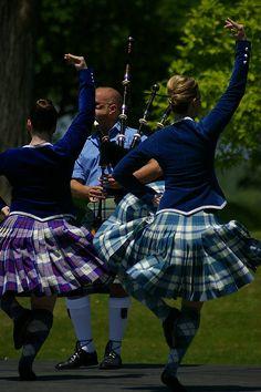 On the left - kilt with royal blue jacket from the back #Scotland #Purple #Tartan