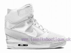 Tendance Basket 2017  Nike Air Revolution Sky Hi GS 2015 Womens High LifeStyle Shoes White Silver