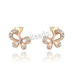 Zinc Alloy Stud Earring, brass post pin, Butterfly, real rose gold plated, with Austria rhinestone, nickel, lead & cadmium free, 9x12mm,china wholesale jewelry beads