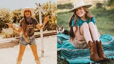 """Everyone's heard it's going to be a """"hot girl summer."""" Well, you can look hot this summer while also staying cool with these outfit inspirations! Cowgirl Fashion, Cowgirl Style, Summer Girls, All Black Looks, Daisy Dukes, Summer Looks, Short Skirts, Cowboy Boots"""